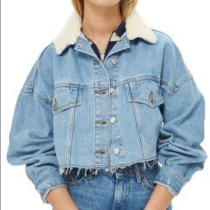 Topshop Faux-fur Cropped Denim Jacket